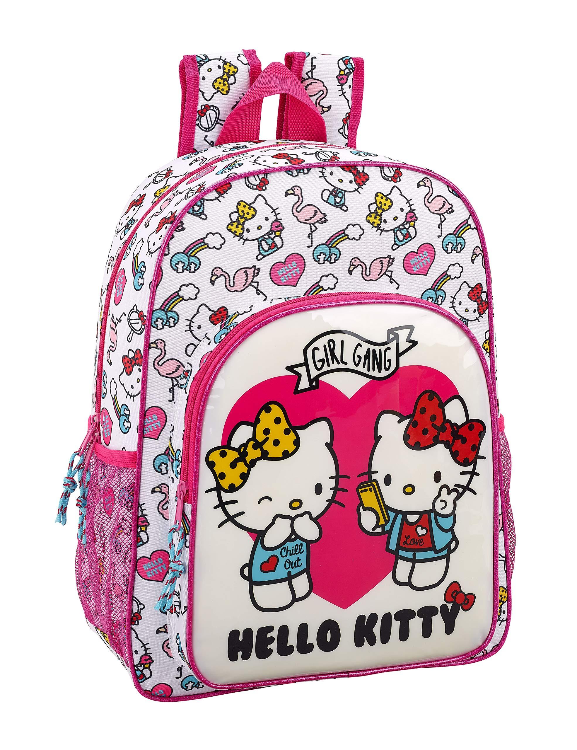 91WJK5y9DgL - Hello Kitty Mochila Grande Adaptable a Carro, 42 cm, Rosa/Blanco