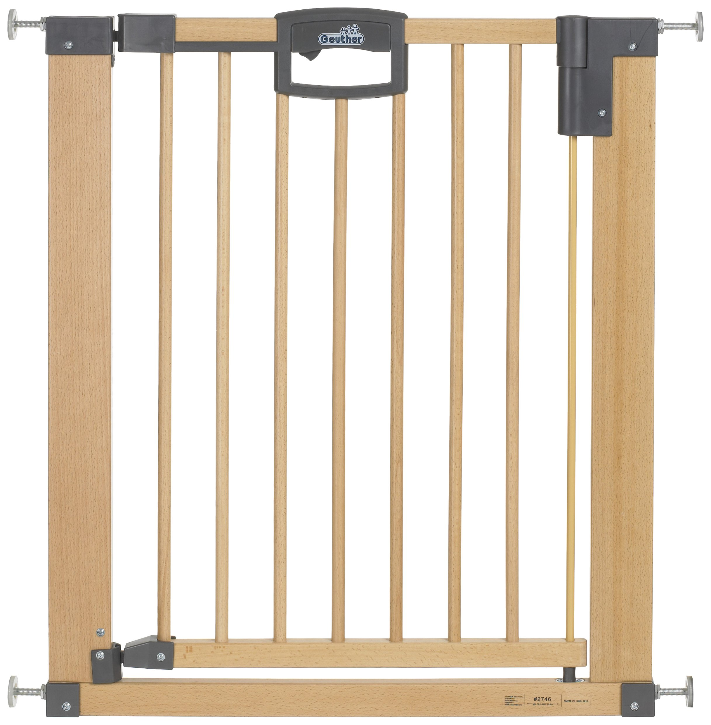 Geuther Door Safety Gate Easy Lock (Wood, Range of Adjustment 75.5 - 83.5cm)  Solid Beech Wood Door gate utilising easylock design No Drilling required Dual lock feature - impossible for toddlers to open yet simple for adults. 1