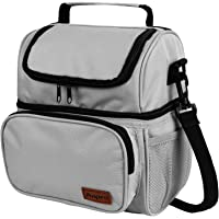 Anpro Lunch Bag - Insulated Cooler Bag for Carrying Lunch Box with Adjustable Shoulder Strap - Lunch Kit for Camping, Fishing, Barbecues, Grey(20x14.5x24cm)