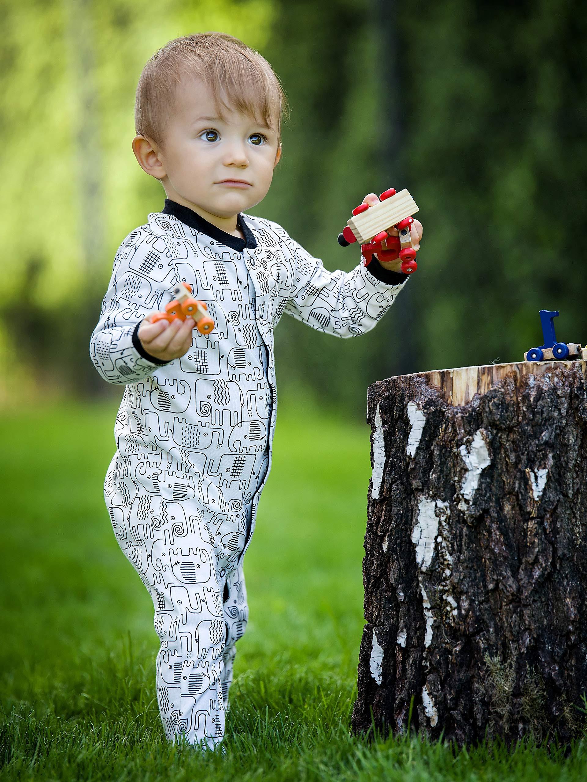 Sibinulo Niño Niña Pijama Bebé Pelele de ABS -Tamaños 80-92 - Pack de 4 2