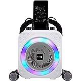 Machine à karaoké RockJam 5 W Bluetooth rechargeable avec deux microphones, effets de modification de voix et lumières LED