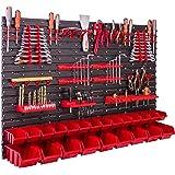 Opslagsysteem wandrek 115x78 cm, gereedschapshouders, 23 stuks. Stapelboxen, opbergkast, extra sterke wandplaten, uitbreidbaa