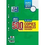 Oxford Copies Doubles 500 Pages A4 Perforées 90g Grands Carreaux Seyes