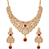 Touchstone Indian Bollywood Traditional Pretty Filigree Work White Rhinestone Mesmerizing Bridal Designer Jewelry Necklace Se