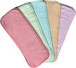 Chhote Saheb Wet-Free Microfiber Inserts Washable Microfiber Baby Cloth Diaper Inserts 3 Layers Each Insert for Diapers Pocket Mat Nappy Changing Liners (Set of 5 (G.B.Y.P.Prpl))