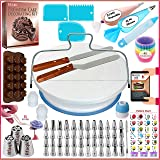150 PCs Cake Decorating Supplies Kit for Beginners-1 Turntable stand-48 Numbered icing tips with pattern chart & E.Book-1 Cak