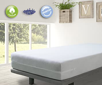 velfont white elastic terry towelling fully enclosed mattress encasement king size - Mattress Encasement