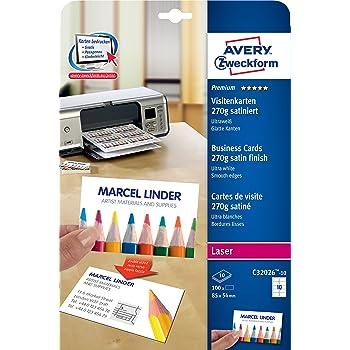 Avery Zweckform Paquet De 10 Feuilles A4 270 G M Pour 100 Cartes Visite QuickClean Imprimante Laser 85 X 54 Mm Blanc Satin Import Allemagne