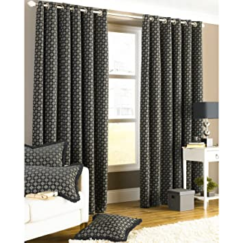 Paoletti Belmont Chenille Jacquard Woven Lined Eyelet Curtains ...
