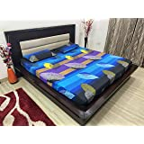 TIB Floral 100% Cotton King Size Elastic Fitted Bed Sheets with 2 Pillow Covers - Blue