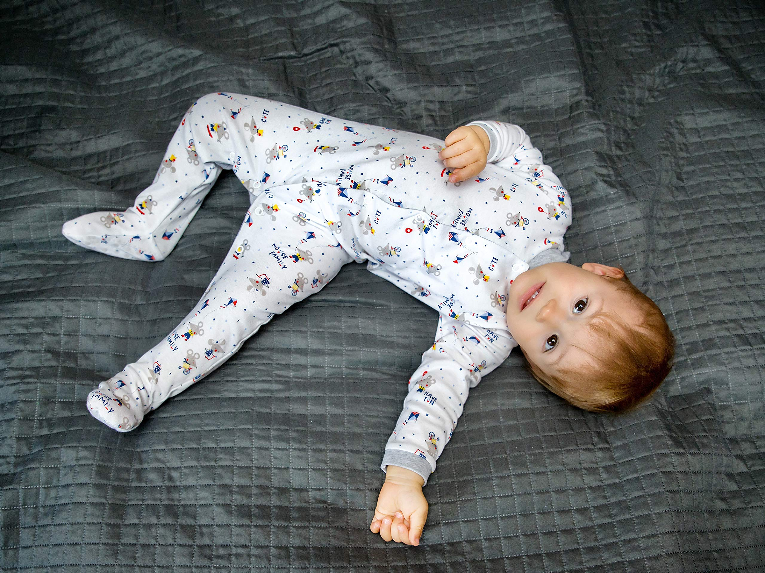 Sibinulo Niño Niña Pijama Bebé Pelele de ABS -Tamaños 80-92 - Pack de 4 5