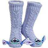 Disney Fluffy Slipper Socks for Women, Minnie Mickey Stitch Gifts