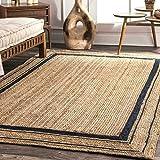Ripaz Jute Rug Natural with Black Line Handmade Braided Bisat Aljut Area Rug (120 x 180 cm (4 x 6 Feet))