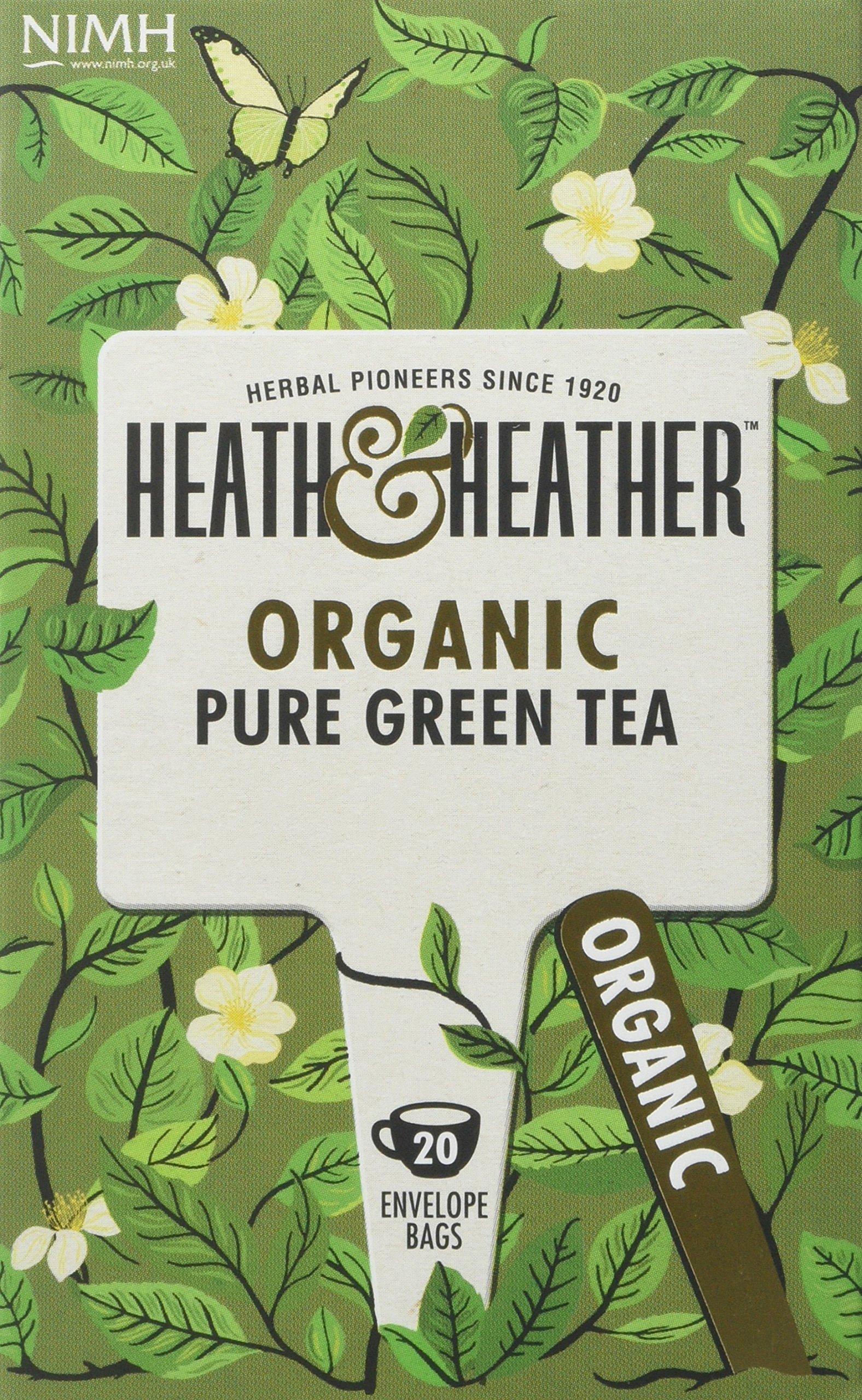 Heath & Heather organic green tea tea bundle (soil association) (green tea) (6 packs of 20 bags) (120 bags) (brews in 2-3 minutes)