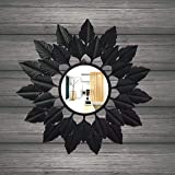 GIG Handicrafts Metal Wall Mirror (64 x 64 x 4 cm, Black)