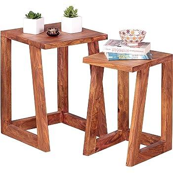 Wohnling 2er Set Beistelltisch Massiv Holz Sheesham Design Satztisch