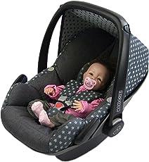 BAMBINIWELT Ersatzbezug für Maxi-Cosi PEBBLE 5-tlg, Bezug für Babyschale, Komplett-Set STERNE DUNKELGRAU *NEU*