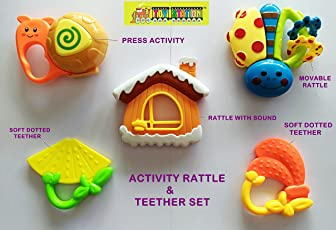TOY-STATION Hmc Activity Rattles and Teether Set (Multicolour) - Pack of 5