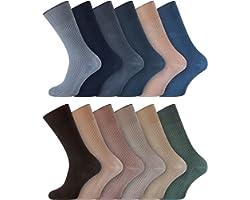 Men's Non Elastic 100% Cotton Soft Top Diabetic Socks Smooth Seam Toe UK 6-11 Socksmad StayFresh (Pack of 3) (6-11, Assorted)