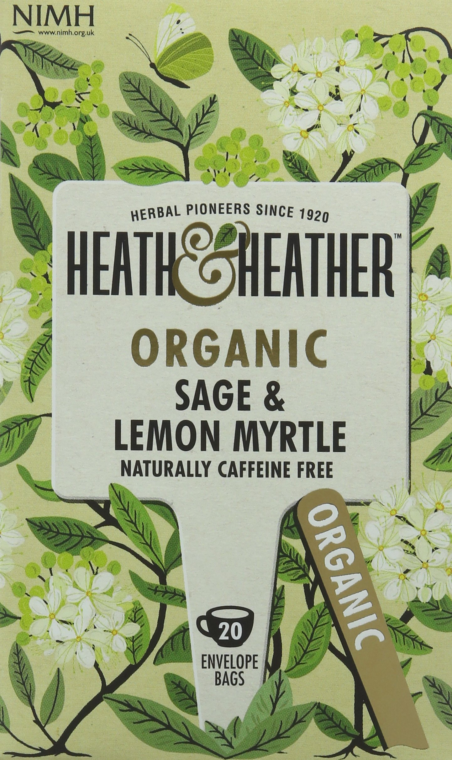 Heath & Heather organic sage tea bundle (soil association) (infusions) (6 packs of 20 bags) (120 bags) (a fruity, vegetal tea with aromas of lemon myrtle, sage) (brews in 3-5 minutes)
