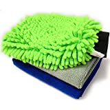Sobby Microfiber Cleaning Cloths 3 In 1 Combo For Car Care ( 2 Large Microfibre Cloth & 1 Big Size Microfiber Mitt Glove…