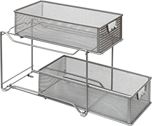 Amtido 2-Tier Sliding Basket Cabinet Organizer - Kitchen ...