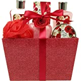 Love of Rose Spa Gift Basket By Lovestee - Bath and Body Gift Set, Gift Box, Includes Luxury Shower Gel, Bubble Bath, Sensual