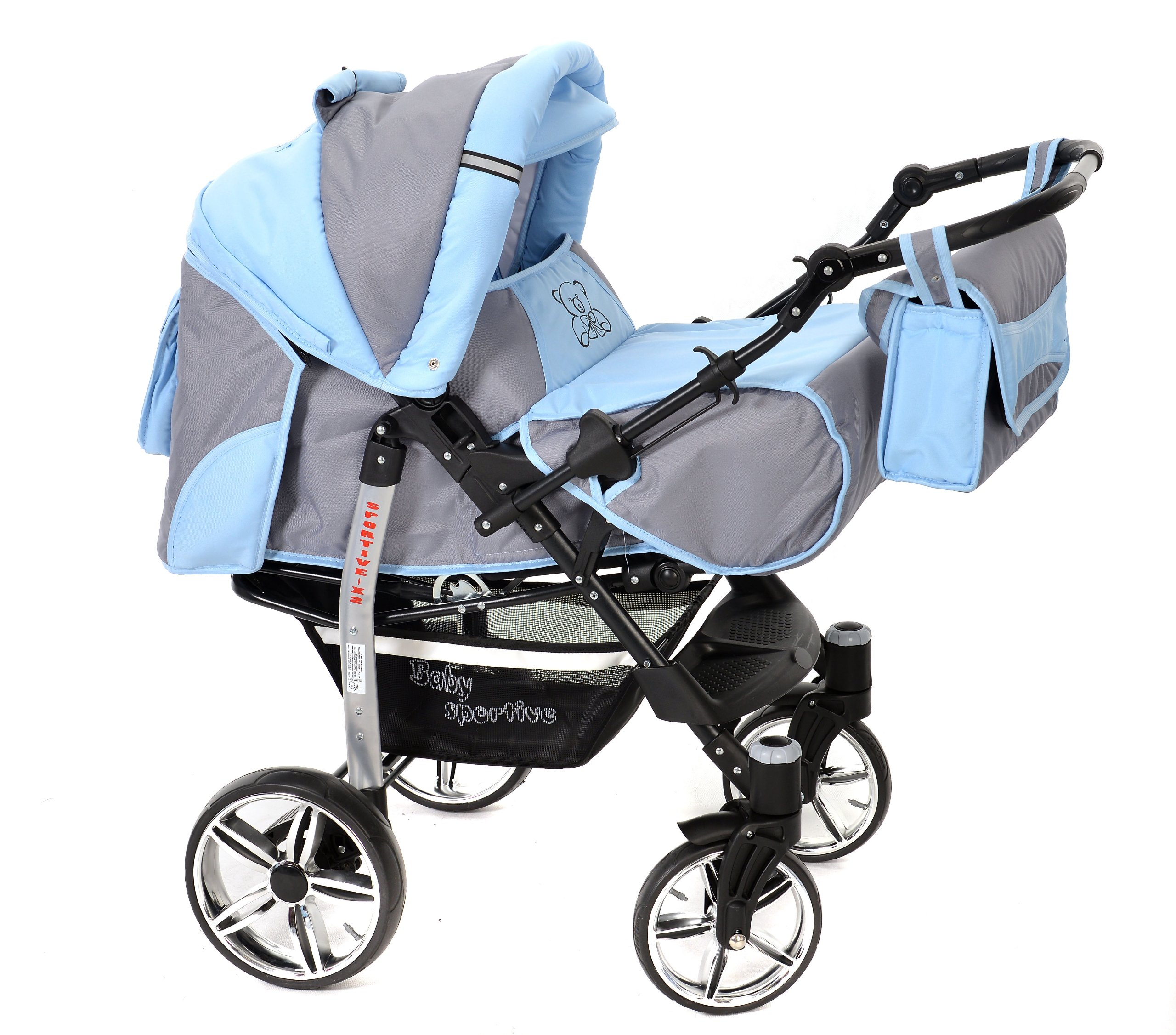 Sportive X2, 3-in-1 Travel System incl. Baby Pram with Swivel Wheels, Car Seat, Pushchair & Accessories (3-in-1 Travel System, Pale Grey & Blue)  3 in 1 Travel System All in One Set - Pram, Car Carrier Seat and Sport Buggy + Accessories: carrier bag, rain protection, mosquito net, changing mat, removable bottle holder and removable tray for your child's bits and pieces Suitable from birth, Easy Quick Folding System; Large storage basket; Turnable handle bar that allows to face or rear the drive direction; Quick release rear wheels for easy cleaning after muddy walks Front lockable 360o swivel wheels for manoeuvrability , Small sized when folded, fits into many small car trunks, Carry-cot with a removable hood, Reflective elements for better visibility 2