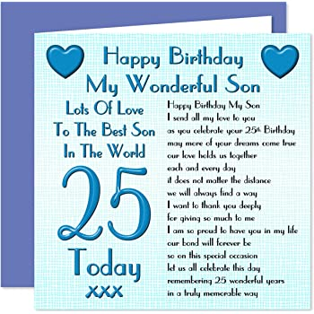 Son 25th Happy Birthday Card