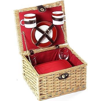 Greenfield Collection (GG024) Deluxe Dorchester Picknickkorb für 2Personen, Weide, Futter in Royal Rot
