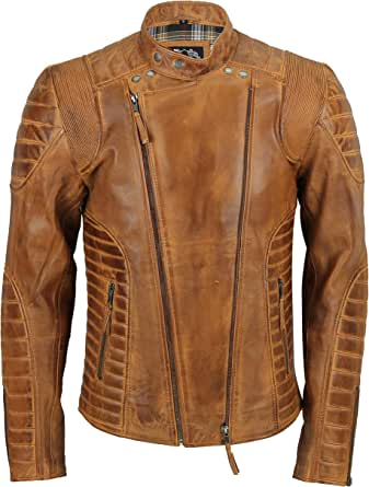 Xposed Men's Real Soft Leather Quilted Panel Vintage Designer Style Biker Jacket in Retro Tan, Washed Brow