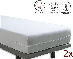 Tural - Elastischer Matratzenüberzug mit Reißverschluss. Frottee aus 100% Baumwolle