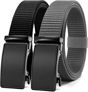 Chaoren Nylon Webbing Click Ratchet Belt for men with Slide Buckle, Casual Canvas Dress Belt Trim to Exact Fit