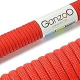 Ganzoo 550 Paracord - Corda da paracadute a 7 fili, lunghezza complessiva: 30 m, colore: Rosso