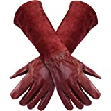 FZTEY Long Gardening Gloves, Breathable and Flexible Garden Safety Work Protective Leather Thorn Proof Gauntlets for Men & Wo