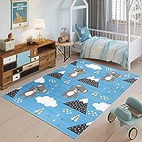 TAPISO Jolly Tappeto Bambini Cameretta Bimbi Gioco Colorato Animali Orsetti Multicolore Blu A Pelo Corto 80 x 150 cm