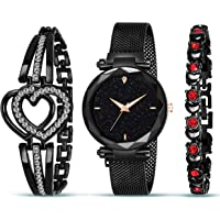 Styledose Branded Analogue Black Dial Magnet Watch with Gift Bracelet for Women or Girls and Watch for Girl or Women…