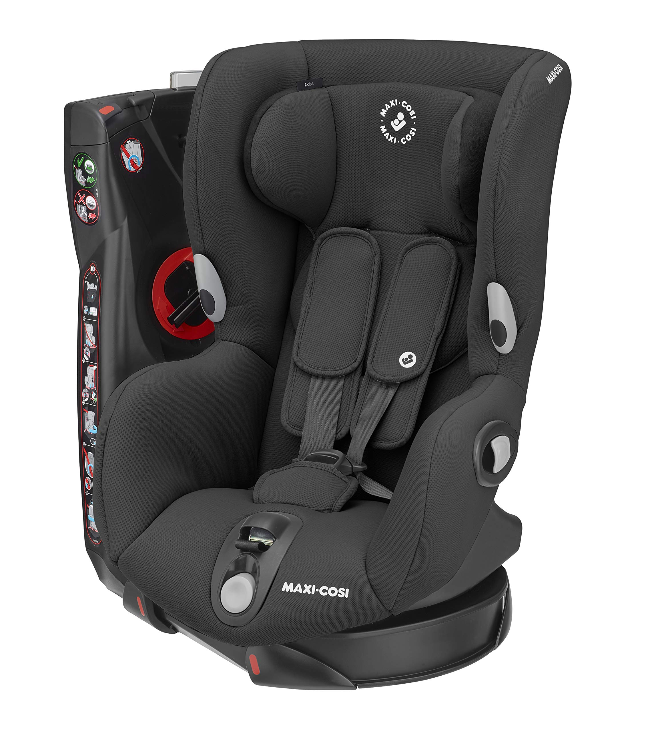 Maxi-Cosi Axiss Swivelling Toddler Car Seat, Authentic Black, 11.79 kg Maxi-Cosi Maxi-cosi axiss car seat swivels 90° degrees allows for front-on access to get your toddler in and out of the car more easily 8 comfortable recline positions Install using the car's seat belt and the integrated belt tensioner ensures a solid fit 1