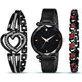 Styledose Branded Analogue Black Dial Magnet Watch with Gift Bracelet for Women or Girls and Watch for Girl or Women (Combo o