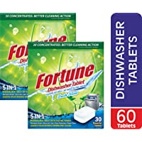 FORTUNE Dishwasher Tablets, 5 in 1 Action, Fresh Scent, 60 Count (60.00)