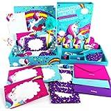 GirlZone Regalo Ragazza Set Carta da Lettere Unicorno per Bambina e Ragazza Confezione con Fogli, Biglietti, Buste…