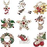 Adramata 9 Pcs Broche De Navidad Joyas de Esmalte Pin de Mama Santa Claus Monigote de Nieve Cascabeleo Campana Árbol de Navid