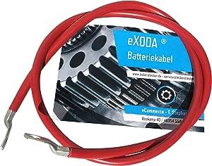 Exoda Batteriekabel 10 Mm 100cm Kupfer Stromkabel Mit Ringösen M8 Rot 12v Kfz Kabel Auto
