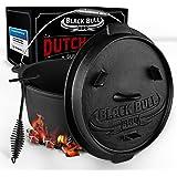 Black Bull BBQ Dutch oven set [9L] - Ingebrande vuurpot van gietijzer met voeten & deksel - Met spiraalgreep voor optimale ho