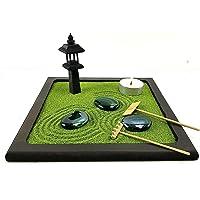 Bonseki® Piccolo Giardino zen da tavolo in legno 20x20 cm, con lanterna giapponese. Personalizzabile, visualizza le…