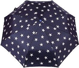 FabSeasons Polyester Star Digital Printed Semi Automatic 3 Fold White Umbrella