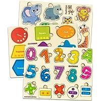 Quokka Bebe Puzzles en Bois 1 2 3 ans, Jouet Enfants Montessori 2 ans Fille et Garçon, Animaux de Puzzle, Nombres de…