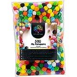 OfficeTree 500 Pompones Manualidades - Pompones de Colores Manualidades - Gran Diversión para Niños y Adultos Decoración Cost