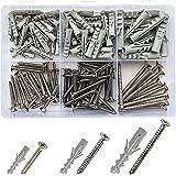 Jaset Innovations Nylon Dry Wall Rawl Plugs/Gitti, Stainless Steel Screws - Flat Phillips CSK Head - Assorted Kit (Set of 60