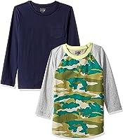 LOOK by crewcuts Pack de 2 Camisetas de Manga Larga con Diseño Gráfico/Liso Niño